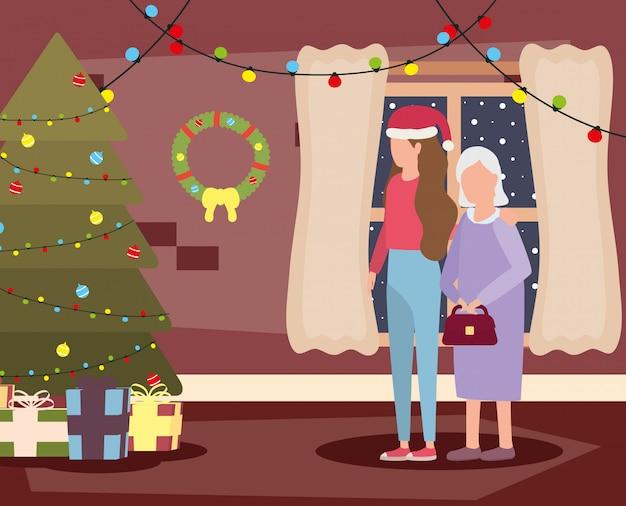 Avó e filha na sala de estar com decoração de natal
