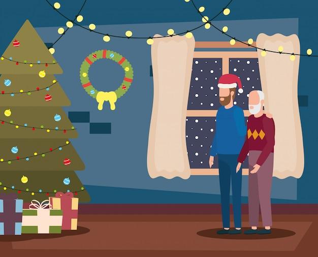 Avô e filho na sala de estar com decoração de natal