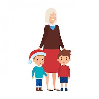 Avó e kkids com roupas de dezembro