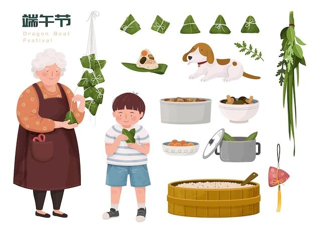 Avó e neto fazendo bolinhos de arroz com ingredientes diferentes, festival do barco do dragão escrito em caracteres chineses