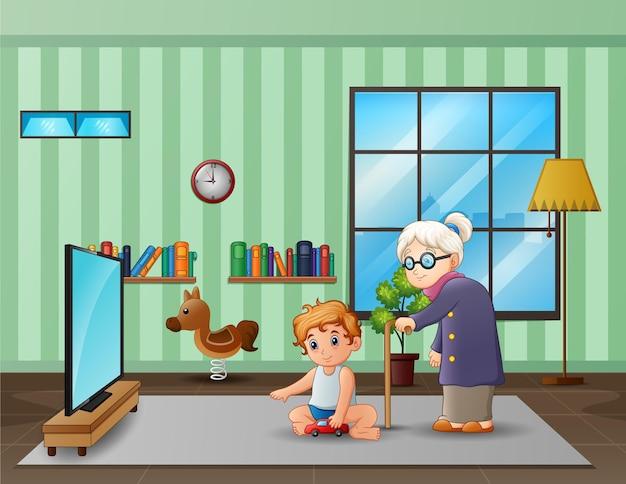 Avó e neto na sala de estar