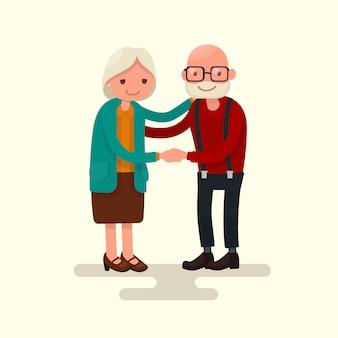 Avó e vovô juntos segurando ilustração de mãos