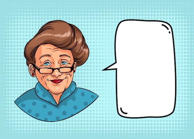 Avó elegante com penteado retrô, óculos, batom vermelho. retrato de mulher idosa e balão para texto. ilustração de quadrinhos coloridos.