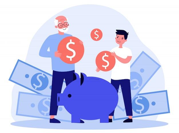 Avô ensinando neto a economizar dinheiro