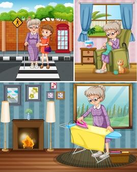 Avó fazendo atividades diferentes
