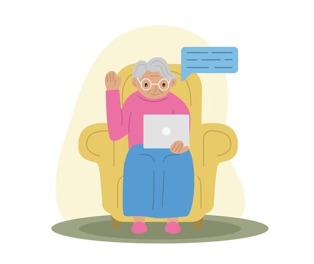 Avó feliz com tecnologia de laptop e idosos