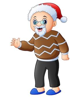 Avô feliz usando gorro de papai noel