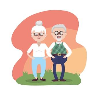 Avô junto com óculos e penteado