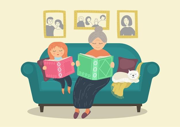 Avó lendo livros com a neta no sofá. conceito de família reconfortante
