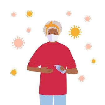 Avó mascarada usa um desinfetante, pare o personagem de desenho animado pandêmico. coronavírus no ar, conceito contra