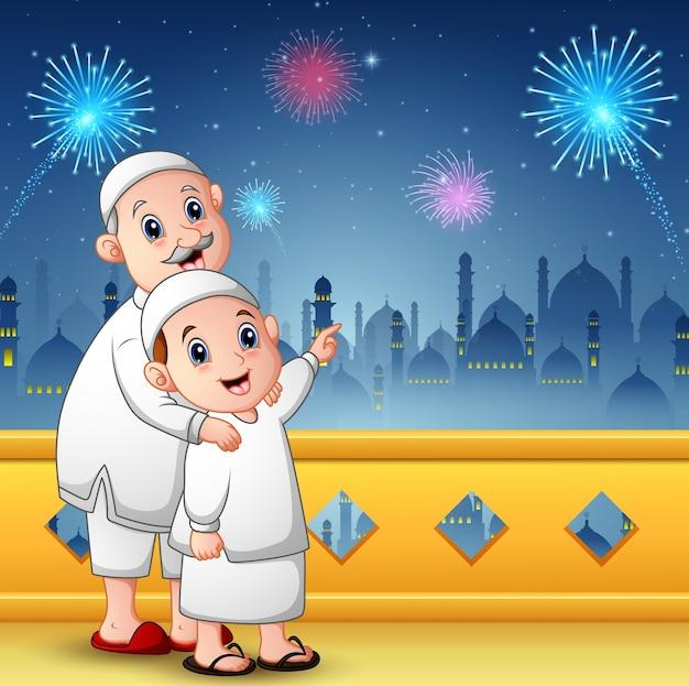 Avô muçulmano com seu neto