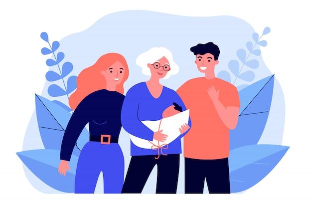 Avó pais segurando bebê recém-nascido