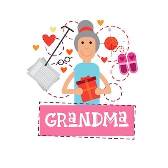 Avó, segurando, presente, caixa, feliz avós, dia, cartão, bandeira