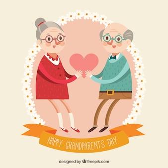 Avós apaixonados por um coração em design plano