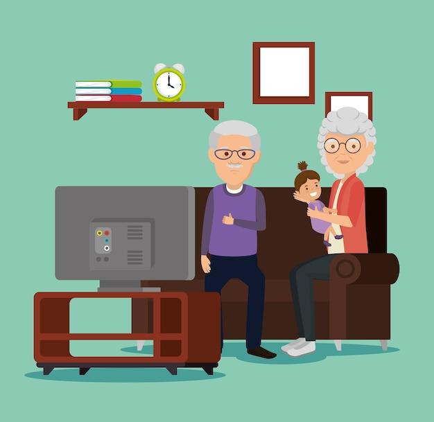 Avós casal com bebê na sala de estar