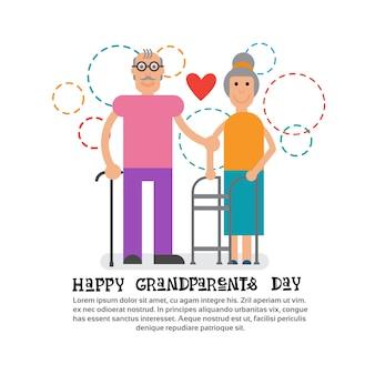 Avós casal juntos feliz avó e avô dia cartão banner