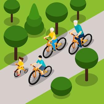 Avós, ciclismo, com, crianças, isometric, bandeira