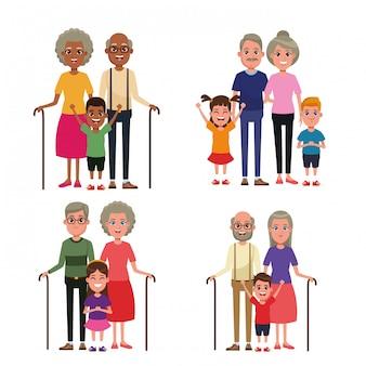 Avós com crianças