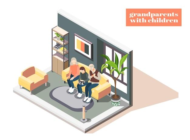 Avós com filhos isométricos com avó, avô e neta no interior de casa