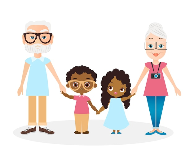 Avós com neto e neta. menina e menino afro-americanos. vetor eps de ilustração 10 isolado no fundo branco. estilo liso dos desenhos animados.