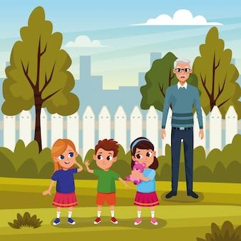 Avós com netos no parque