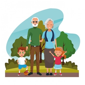 Avós com netos no parque Vetor grátis