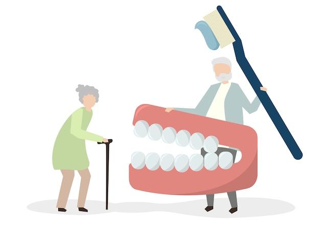 Avós com um kit dental