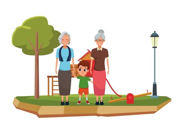 Avós da família e desenhos animados do neto