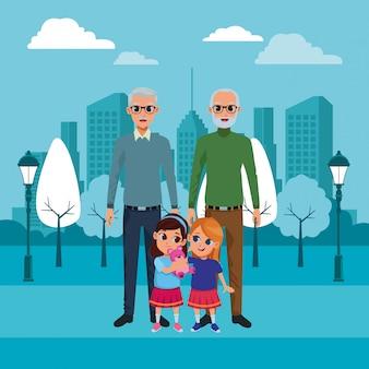 Avós da família e desenhos de netos