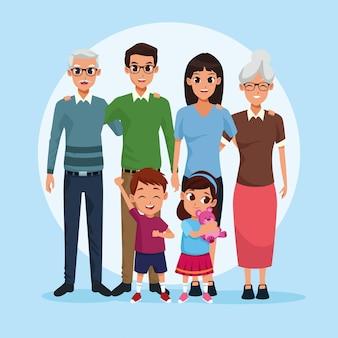 Avós da família, pais e crianças desenhos animados