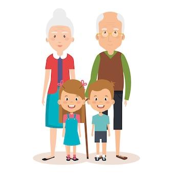 Avós dos avós com avatares dos netos