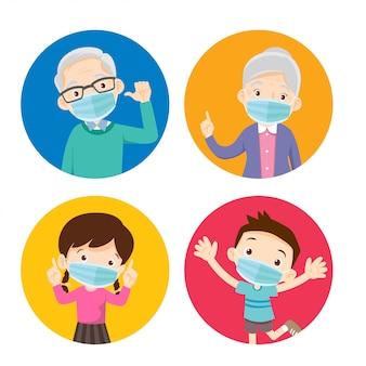 Avós e crianças usando uma máscara cirúrgica para prevenir vírus