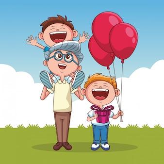 Avós e crianças