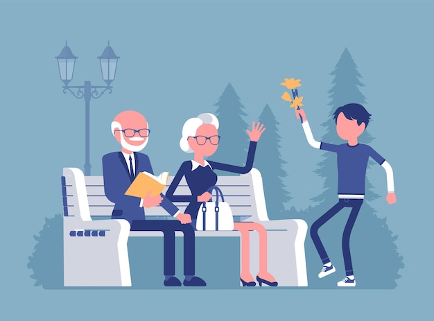 Avós e neto na ilustração do parque