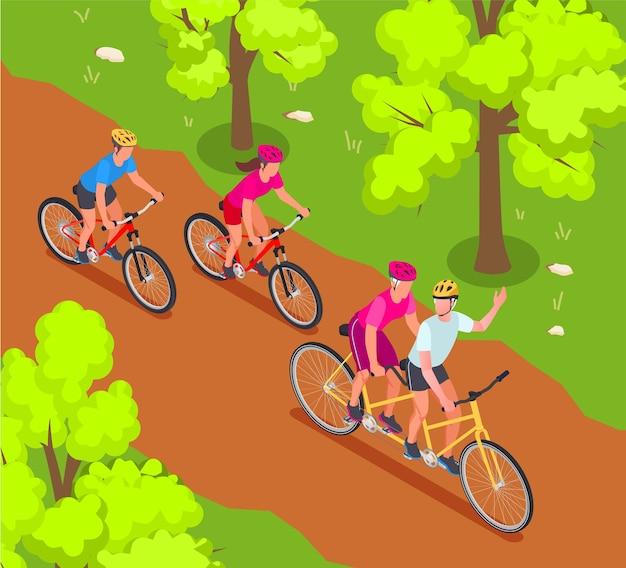 Avós e netos de fundo isométrico com ilustração de símbolos de ciclismo em família