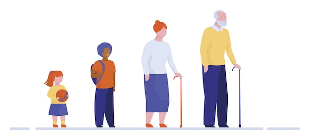 Avós e netos em pé na fila