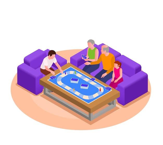 Avós e netos jogando jogo de tabuleiro