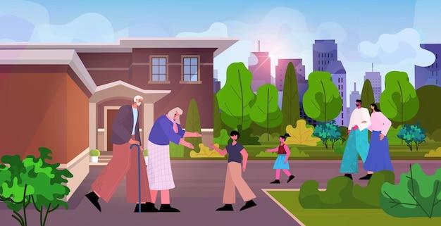 Avós felizes caminhando ao ar livre com netos família de várias gerações passando um tempo juntos paisagem urbana de fundo ilustração vetorial horizontal de comprimento total