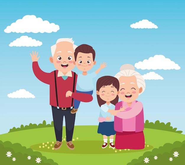Avós felizes fofos com crianças no acampamento