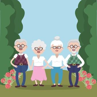 Avós idosos amigos