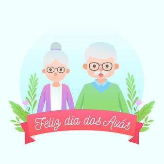 Avós idosos dia caminhando ao ar livre