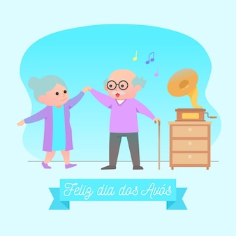 Avós idosos dia dançando dentro de casa