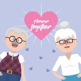 Avós junto com óculos e penteado