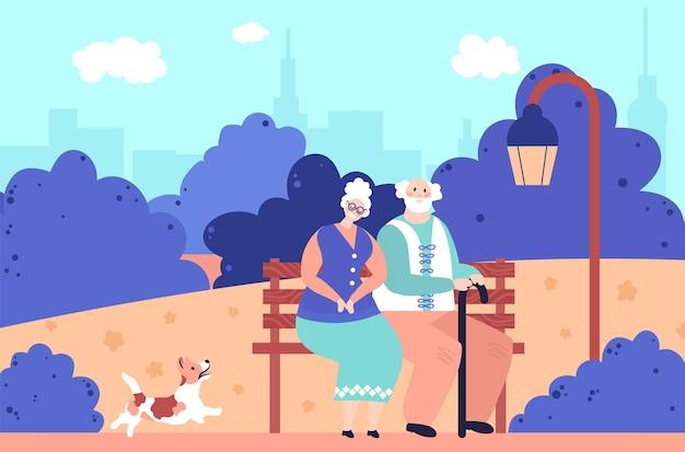 Avós no parque. idosos românticos, idosos felizes sentam-se juntos no banco. velho casal apaixonado por ilustração vetorial ao ar livre do cão a pé. vovó e vovô no parque