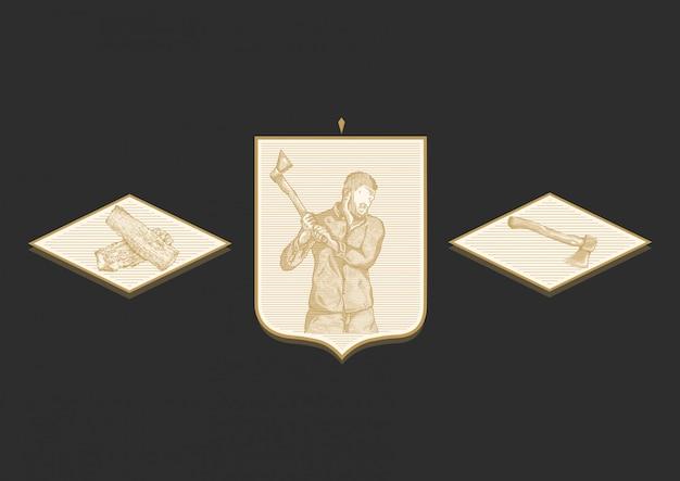 Axeman ouro gravura ilustração