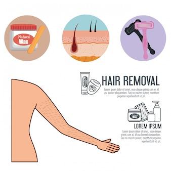 Axila da mulher com ferramentas de depilação