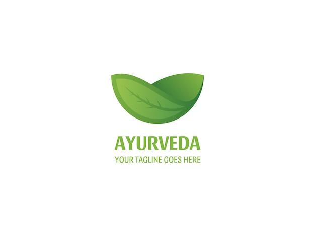 Ayurveda e vetor de design de logotipo de folha natural modelo premium