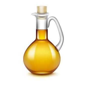 Azeite de oliva jarro jarro jarra de vidro com azeitonas ramos nas folhas isoladas no branco