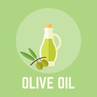 Azeite de oliva na garrafa de vidro design plano ilustração