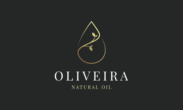 Azeite de ouro de luxo, gota, gota d'água e flor, folha, folhas, vetor de design de logotipo